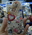 Swarovski crystal case Bling Hello kitty diamond pearl cover for iPhone 6 Plus - Rose