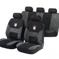 Classic FC Bayern Munchen Universal Auto Car Seat Covers Velvet Plush Sets 18pcs - Black