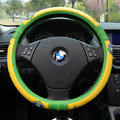 Cool Football Brazil Green Latex Rubber Auto Cars Steering Wheel Covers 15 inch 38CM - Yellow