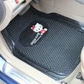 Cute Hello Kitty Cartoon Flower Universal Vehicle Carpet Car Floor Mats Rubber 5pcs Sets - Black