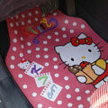 Hello Kitty Cartoon Polka Dot Universal Protector Carpet Car Floor Mats Rubber 5pcs Sets - Pink
