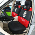 Luxury FC Juventus Universal Automobile Cars Seat Covers Sandwich Fabric 18pcs Sets - Black