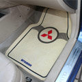 Mitsubishi Logo Universal Vehicle Carpet Car Floor Mats Rubber PVC 5pcs Sets - Beige