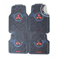Mitsubishi Logo Universal Vehicle Carpet Car Floor Mats Rubber PVC 5pcs Sets - Black
