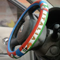 Safety First Football Italy Green Latex Rubber Auto Cars Steering Wheel Covers 15 inch 38CM - Red