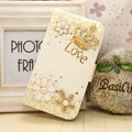 Love Bling Holster Case Leather Cover for Samsung Galaxy Note 4 N9100 - White