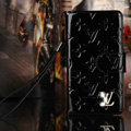 Bling Diamond LV folder leather Case Book Flip Mirror Holster Cover for Samsung Galaxy NoteIII 3 - Black