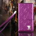 Bling Diamond LV folder leather Case Book Flip Mirror Holster Cover for Samsung Galaxy NoteIII 3 - Purple