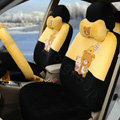 Cartoon Rilakkuma Universal Automobile Plush Velvet Car Seat Cover 18pcs Sets - Yellow+Black