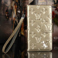 Classic Diamond LV folder leather Case Book Flip Mirror Holster Cover for Samsung Galaxy Note 4 N9100 - Champagne