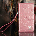 Classic Diamond LV folder leather Case Book Flip Mirror Holster Cover for Samsung Galaxy Note 4 N9100 - Pink