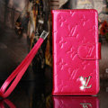 Classic Diamond LV folder leather Case Book Flip Mirror Holster Cover for Samsung Galaxy Note 4 N9100 - Rose