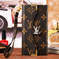 Classic LV Flower High Quality Leather Flip Cases Holster Covers for iPhone 6 - Brown