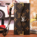 Classic LV Flower High Quality Leather Flip Cases Holster Covers for iPhone 6 Plus - Brown