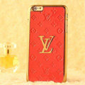 Classic LV Metal Flower Leather Cases Luxury Hard Back Covers Skin for iPhone 6 - Orange
