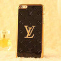 Classic LV Metal Flower Leather Cases Luxury Hard Back Covers Skin for iPhone 6 Plus - Black