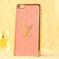 Classic LV Metal Flower Leather Cases Luxury Hard Back Covers Skin for iPhone 6 Plus - Pink