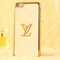 Classic LV Metal Flower Leather Cases Luxury Hard Back Covers Skin for iPhone 6 - White