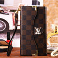 Classic LV Plaid High Quality Leather Flip Cases Holster Covers for iPhone 6 - Brown