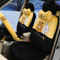 Cut Cony & Brown Bear Universal Automobile Plush Velvet Car Seat Cover 18pcs Sets - Yellow+Black