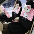Cute Polka Dots Hello Kitty Universal Automobile Plush Velvet Car Seat Cover 18pcs Sets - Black+Pink