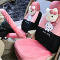 Cute Polka Dots Hello Kitty Universal Automobile Plush Velvet Car Seat Cover 18pcs Sets - Pink+Black