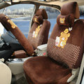 Cute Polka Dots Rilakkuma Universal Automobile Plush Velvet Car Seat Cover 18pcs Sets - Coffee
