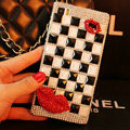 Funky Swarovski Bling Rhinestone Classic Plaid Case Red lips Diamond Cover for iPhone 6