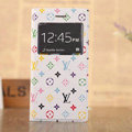 Hot Sale LV Louis Vuitton Floral Bracket Leather Flip Cases Holster Covers for iPhone 6 - White
