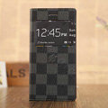 Hot Sale LV Louis Vuitton Lattice Bracket Leather Flip Cases Holster Covers for iPhone 6 - Black