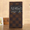 Hot Sale LV Louis Vuitton Lattice Bracket Leather Flip Cases Holster Covers for iPhone 6 - Brown