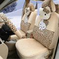 New Cute Leopard Hello Kitty Universal Automobile Plush Velvet Car Seat Cover 18pcs Sets - Beige