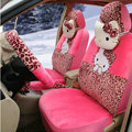 New Cute Leopard Hello Kitty Universal Automobile Plush Velvet Car Seat Cover 18pcs Sets - Peach Red