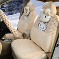 New Cute Polka Dots Hello Kitty Universal Automobile Plush Velvet Car Seat Cover 18pcs Sets - Beige