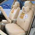 Polka Dots Cony & Brown Bear Universal Automobile Plush Velvet Car Seat Cover 18pcs Sets - Beige