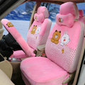 Polka Dots Cony & Brown Bear Universal Automobile Plush Velvet Car Seat Cover 18pcs Sets - Pink