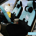Pretty Polka Dots Hello Kitty Universal Automobile Plush Velvet Car Seat Cover 18pcs Sets - Blue+Black