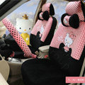 Pretty Polka Dots Hello Kitty Universal Automobile Plush Velvet Car Seat Cover 18pcs Sets - Peach+Black