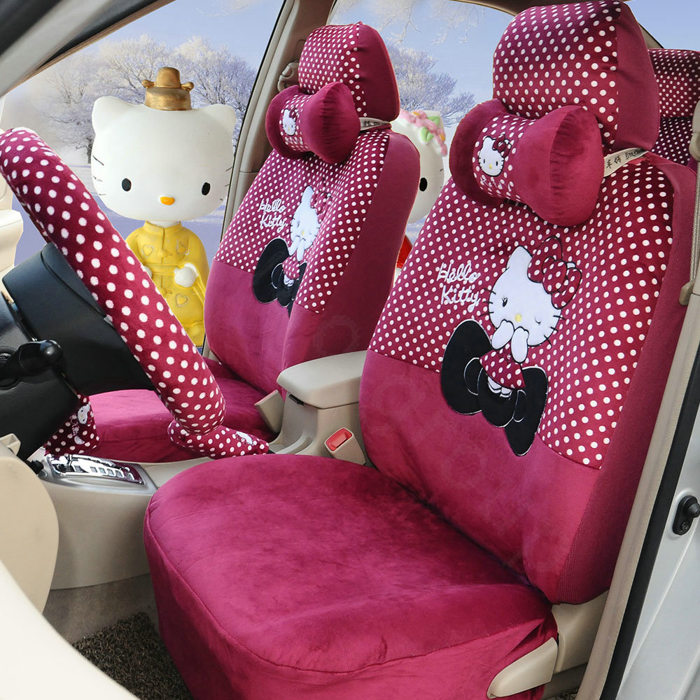 buy wholesale pretty polka dots hello kitty universal automobile plush velvet car seat cover. Black Bedroom Furniture Sets. Home Design Ideas