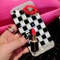 Pretty Swarovski Bling Rhinestone Red lips Case Classic Plaid Cover for iPhone 6 Plus