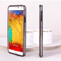 Swarovski Bling Metal Bumper Frame Case Diamond Cover for Samsung Galaxy Note 4 N9100 - Black