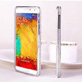 Swarovski Bling Metal Bumper Frame Case Diamond Cover for Samsung Galaxy Note 4 N9100 - Silver