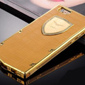 Vertu Swarovski Bling Metal Leather Cover Front Back Case for iPhone 5S - Gold Gold