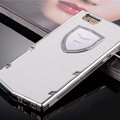Vertu Swarovski Bling Metal Leather Cover Front Back Case for iPhone 5S - White White