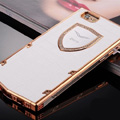 Vertu Swarovski Bling Metal Leather Cover Front Back Case for iPhone 6 Plus 5.5 - White Gold