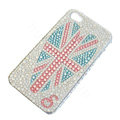 Bling Swarovski crystal cases Britain flag diamond covers for iPhone 6S - White