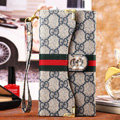 Classic Diamond Gucci High Quality Leather Flip Cases Holster Covers for iPhone 6S - Gray