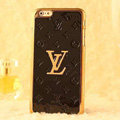 Classic LV Metal Flower Leather Cases Luxury Hard Back Covers Skin for iPhone 6S - Black