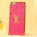 Classic LV Metal Flower Leather Cases Luxury Hard Back Covers Skin for iPhone 6S - Rose
