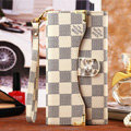 Classic LV Plaid High Quality Leather Flip Cases Holster Covers for iPhone 6S - Beige